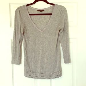 Express super soft gray top with detailed finish